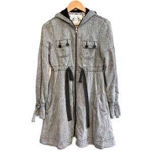 FREE PEOPLE Herringbone Hooded Linen Coat | Size 6